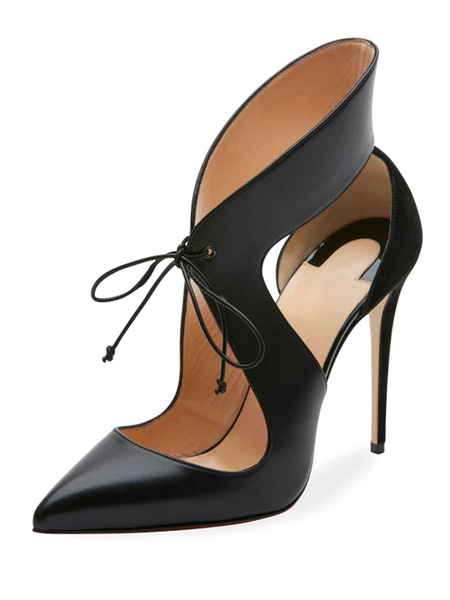 Milanoo Black High Heels Women's Pointed Toe Lace Up Cut Out Designed Heeled Shoes