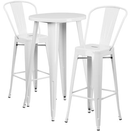CH51080BH Collection CH-51080BH-2-30CAFE-WH-GG Indoor-Outdoor Bar Table Set with 2 Cafe Stools  Round Table Top  Footrest Support  Protective Floor