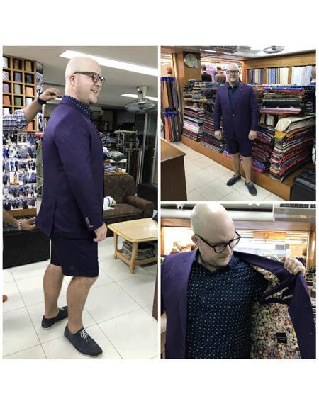 Men's Summer Business Suits With Shorts Pants Set Dark Purpel