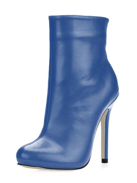 Milanoo Women Ankle Boots Black Pointed Toe Zip Up High Heel Booties
