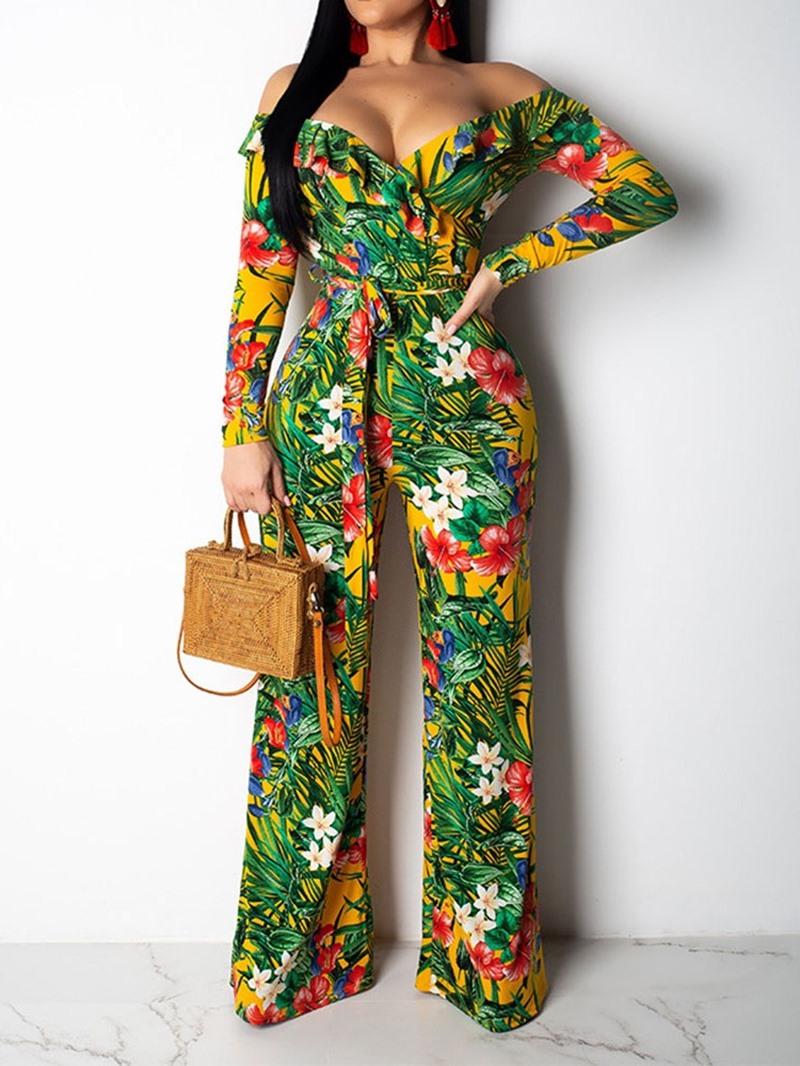 Ericdress Off Shoulder Plant Full Length Print High Waist Straight Jumpsuit