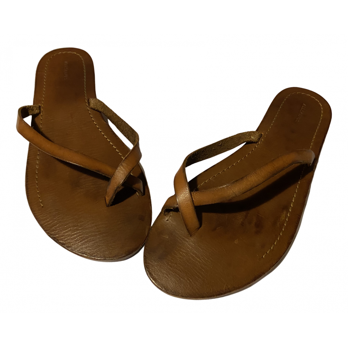 All Saints N Brown Leather Sandals for Women 40 EU