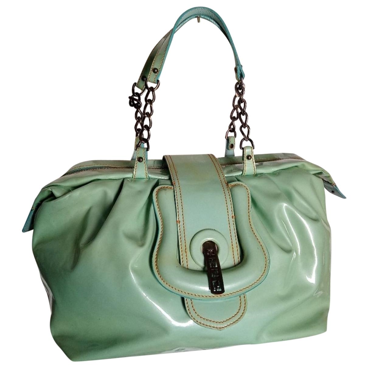 Fendi B Bag Green Patent leather handbag for Women \N