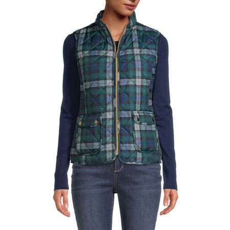 St. John's Bay Quilted Vest, Petite X-large , Green
