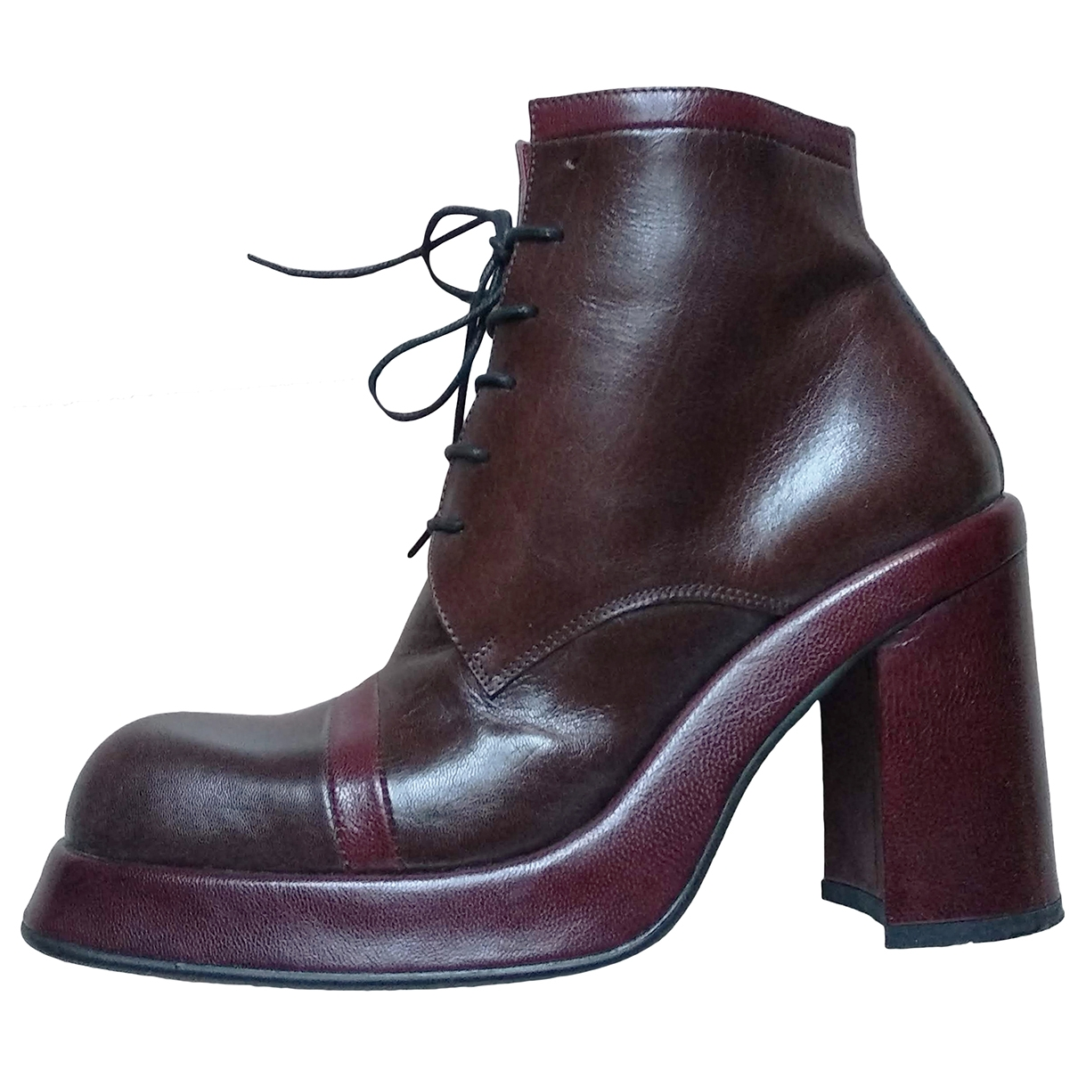 Non Signé / Unsigned \N Brown Leather Ankle boots for Women 37.5 EU