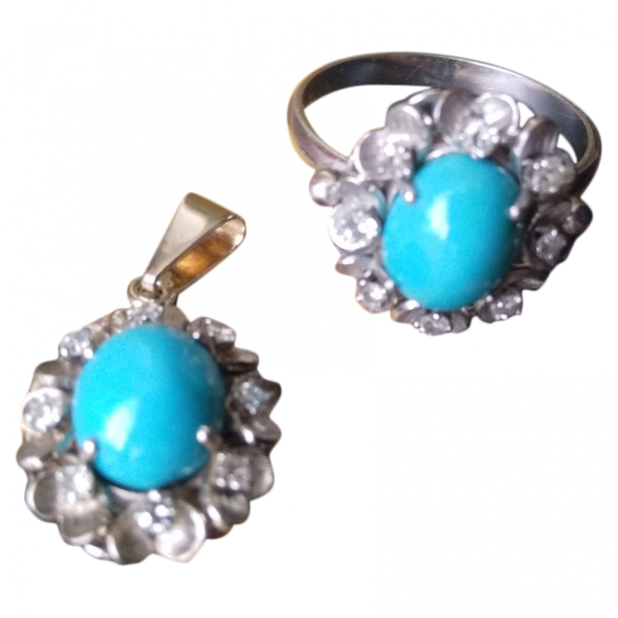 Non Signe / Unsigned Turquoises Schmuck-set in  Blau Weissgold