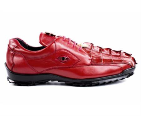 Belvedere Exotic Skin Red Hornback Crocodile Leather Lining Shoe