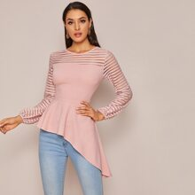 Glitter Striped Sleeve Asymmetrical Hem Peplum Top