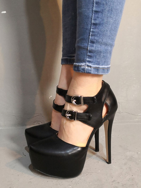 Milanoo Black High Heels Women Sexy Shoes Platform Buckle Detail Sky High Pumps