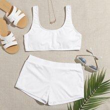 Ribbed Shorts Bikini Swimsuit