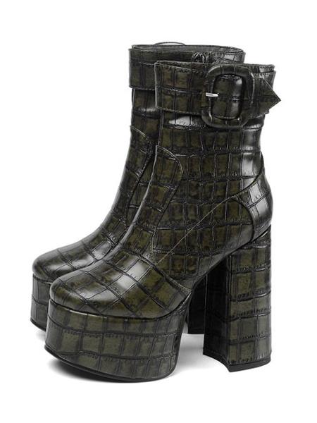 Milanoo Women Ankle Boots Platform Chunky Heel Crocodile Print 5.5 Bold Style Boots