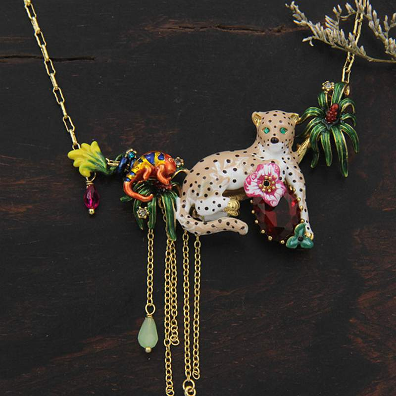 Exaggerated Leopard Design Enamel Glaze Statement Necklace