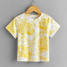 Camiseta de niñitos con estampado de leopardo con cadena