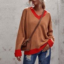 Contrast Trim Drop Shoulder Oversized Sweater