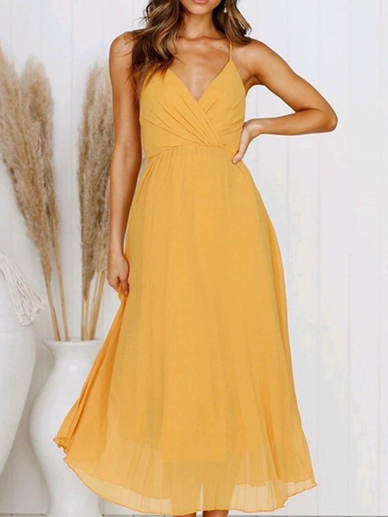 Ericdress Pleated Mid-Calf Sleeveless Sweet A-Line Dress