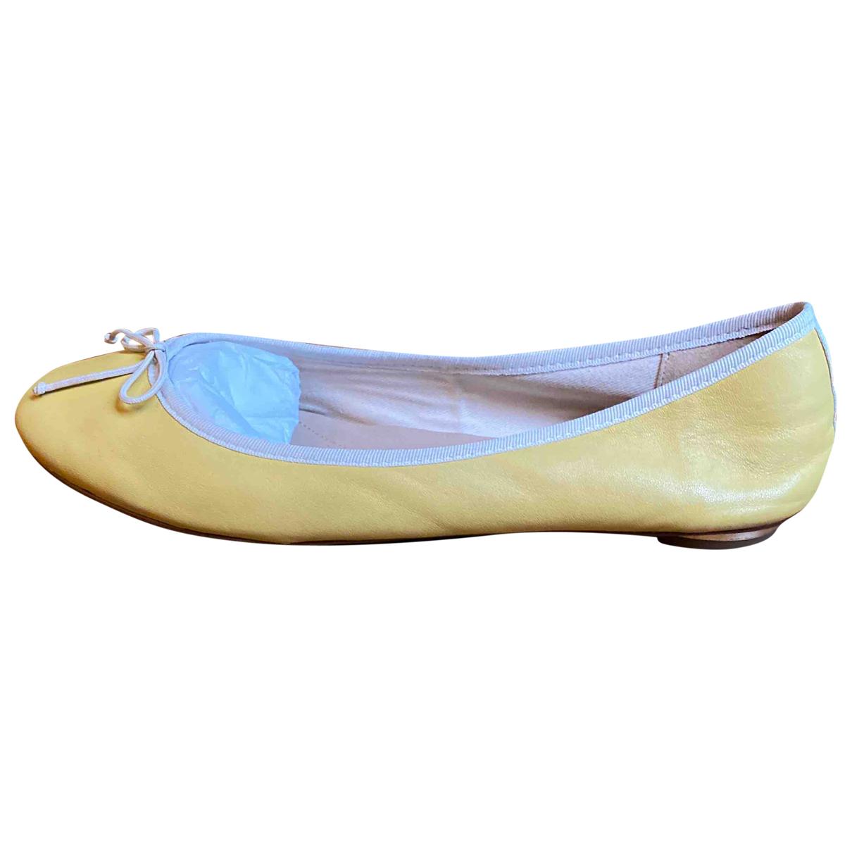 Massimo Dutti \N Ballerinas in  Gelb Leder