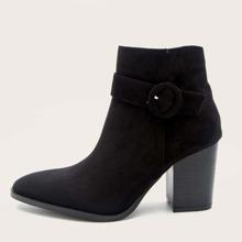 Buckle Decor Chunky Heeled Ankle Boots