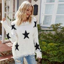 Drop Shoulder Frayed Trim Star Sweater