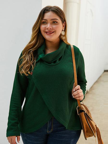Yoins Plus Size Crossed Front Design Turtleneck Sweater