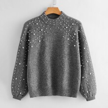 Plus Pearls Beaded Drop Shoulder Sweater