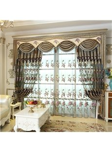 Classical and European Style Luxury Embroidery Decorative Living Room Custom Sheer Curtains