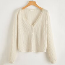 Button Front Lace Trim Waffle Cardigan