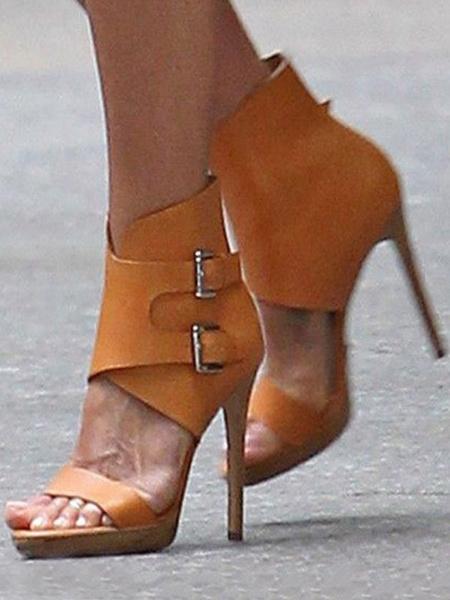 Milanoo Sandalias de vestir para mujer Tacon de aguja Sandalias elegantes con punta abierta con hebillas