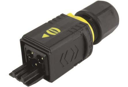 HARTING PushPull Series Power Connector Cable Mount Plug, 3P, Crimp Termination, 16A, 250 V