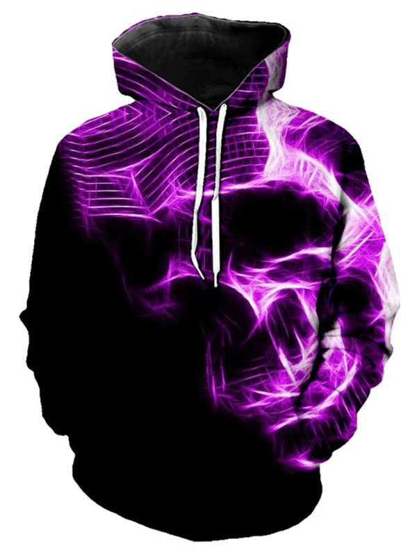 Abstract Skull Graphic Front Pocket Pullover Hoodie