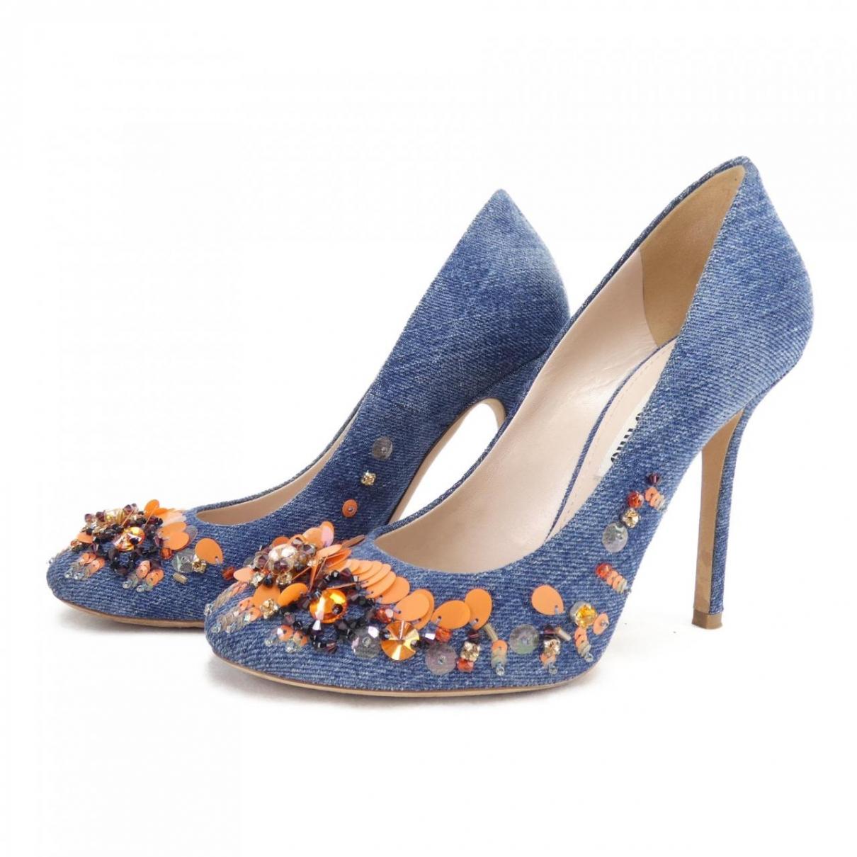 Miu Miu - Escarpins   pour femme en toile - bleu