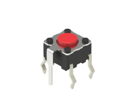 Alps Alpine Red Cap Tactile Switch, Single Pole Single Throw (SPST) 50 mA 0.7mm Snap-In (5)