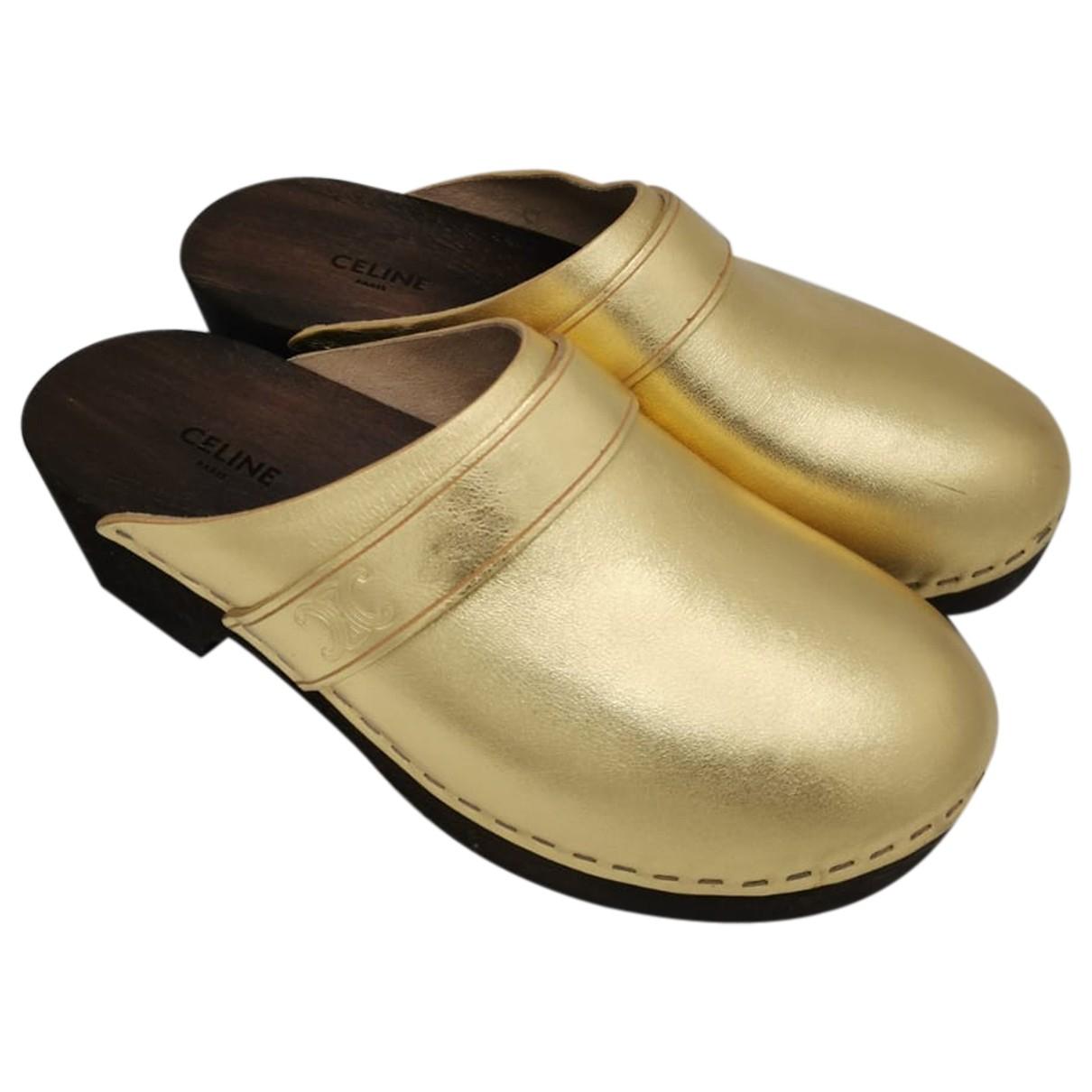 Celine \N Clogs in  Gold Leder