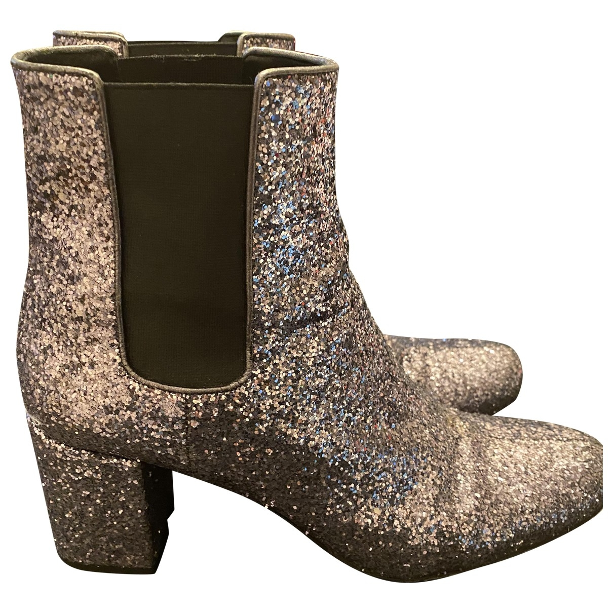 Saint Laurent \N Silver Glitter Ankle boots for Women 39.5 EU
