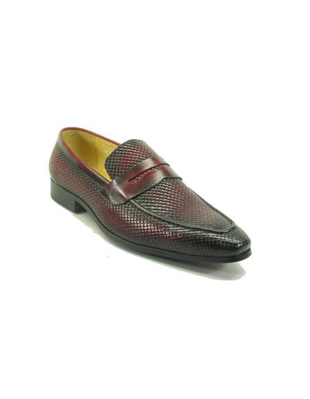 Mens Woven Leather Loafers by Carrucci - Burgundy