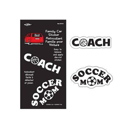 Autocollant de décalque de fenêtre de voiture, Coach / Soccer Mom autocollant de vinyle découp