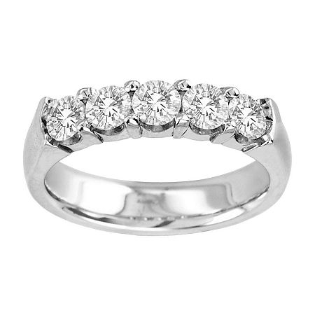 1 CT. T.W. Diamond Band 14K White Gold, 8 , White