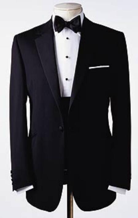 One 1 Button Tuxedo Super 150's premier quality italian fabric Design