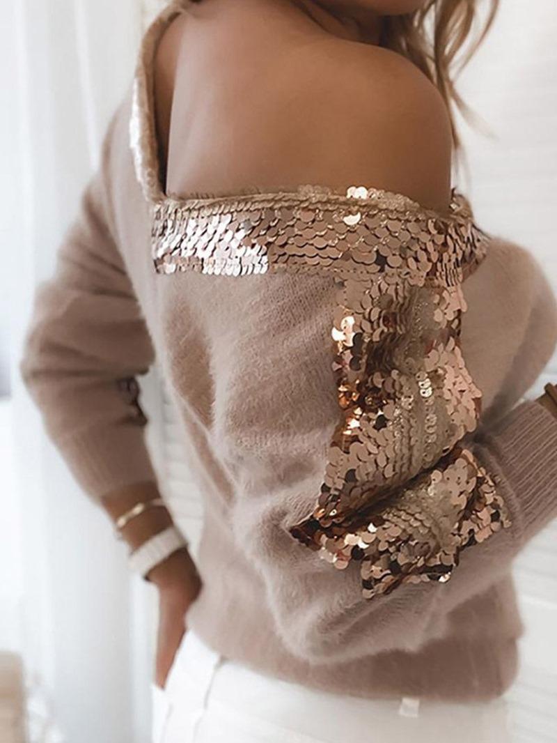 Ericdress Sequins Thin Regular Loose V-Neck Sweater
