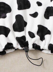 Cow Print Half Zip Drawstring Hem Teddy Sweatshirt