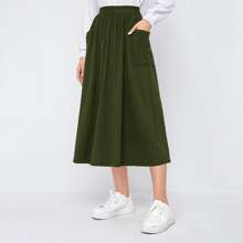 Falda unicolor con bolsillo lateral