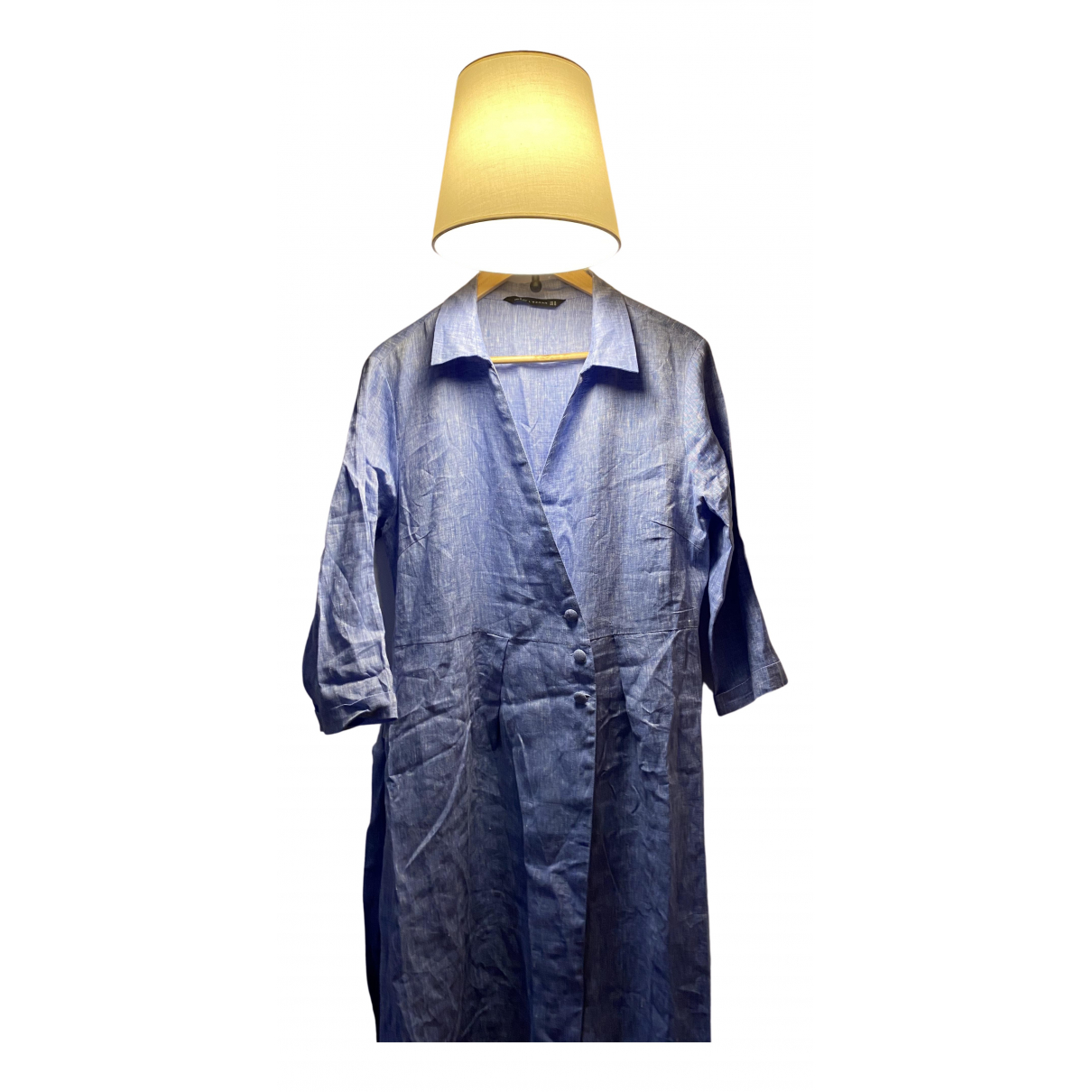Zara \N Kleid in  Blau Leinen