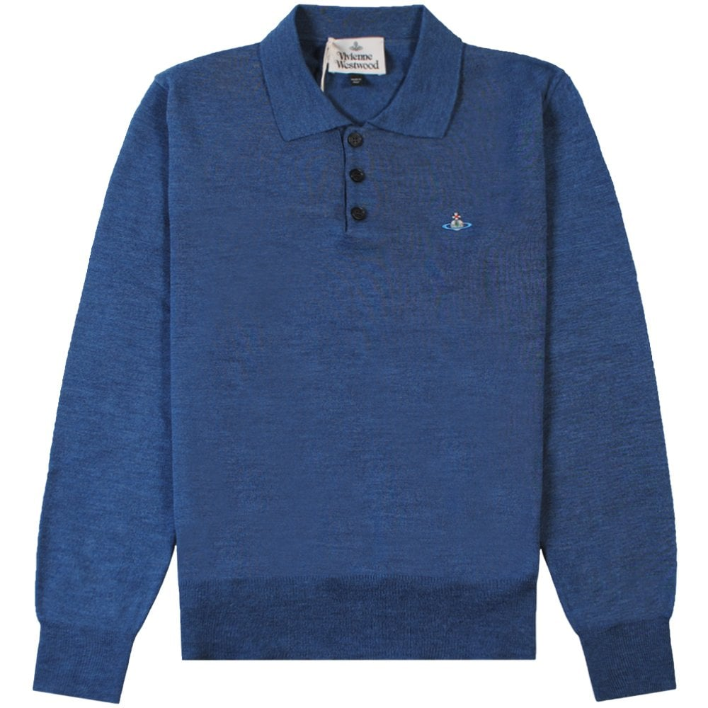 Vivienne Westwood Knitted Long Sleeve Orb Logo Polo Colour: BLUE, Size: MEDIUM