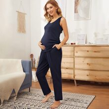 Maternity Drawstring Knot Side Tank Top & Pants Set