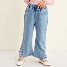 Toddler Girls Button Side Washed Jeans