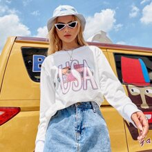 Earth And Letter Graphic Sweatshirt