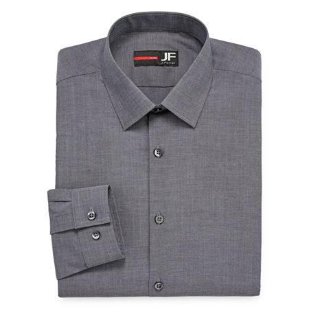 JF J.Ferrar Easy-Care Stretch Mens Long Sleeve Stretch Dress Shirt, 22 38-39, Black