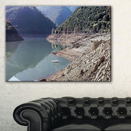 Designart Majestic Mountain Lake Panorama Canvas Art, One Size , Green
