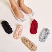 6pairs Contrast Lace Invisible Socks