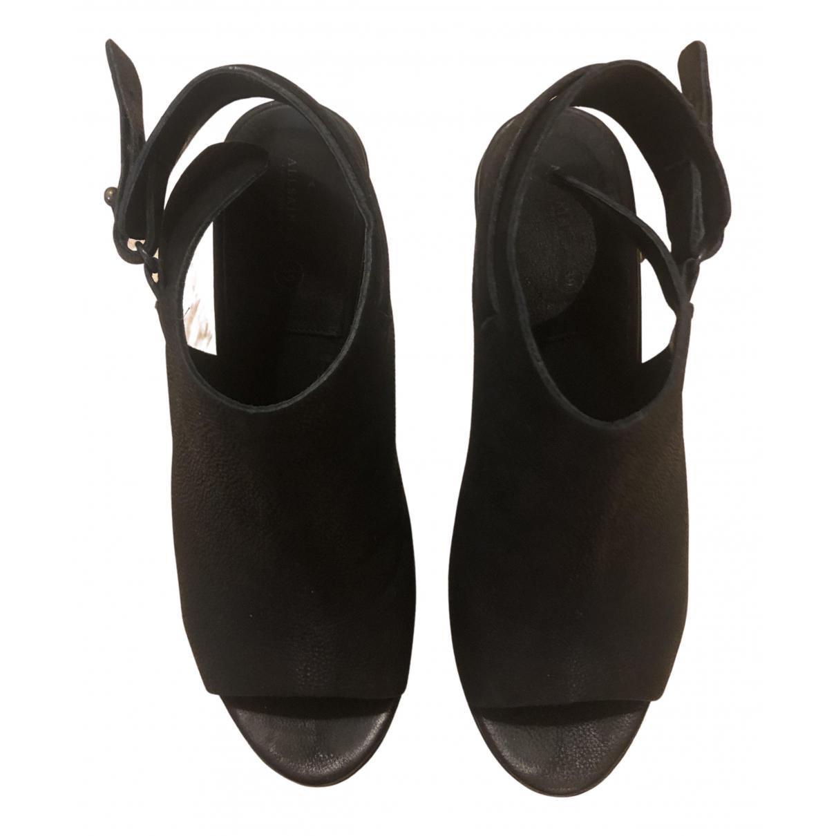 All Saints N Black Leather Heels for Women 39 EU