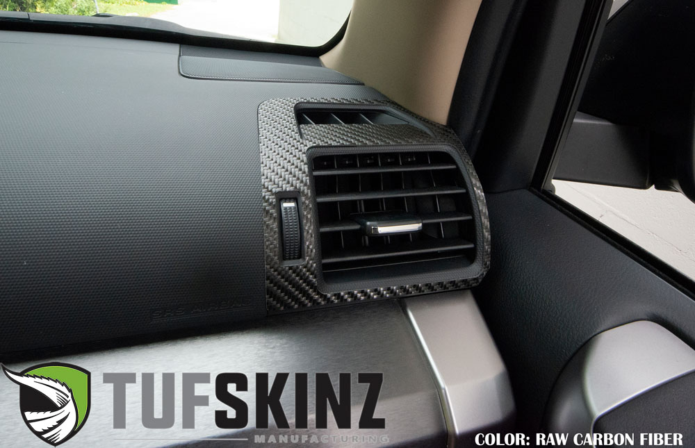 Tufskinz RUN012-RCF-X Passenger/Driver Upper Air Vent Accent Trim Fits 14-up Toyota 4Runner 2 Piece Kit in Raw Real Carbon Fiber